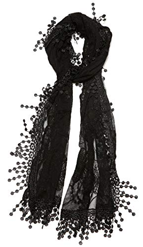 (Women's lightweight Feminine lace teardrop fringe Lace Scarf Vintage Scarf Mesh Crochet Tassel Cotton Scarf for Women,One Size,Black)