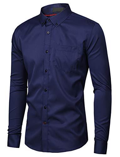 Musen Men Slim Fit Dress Shirt Casual Solid Elastic Button Down Long Sleeve Formal Shirt Navy Blue M