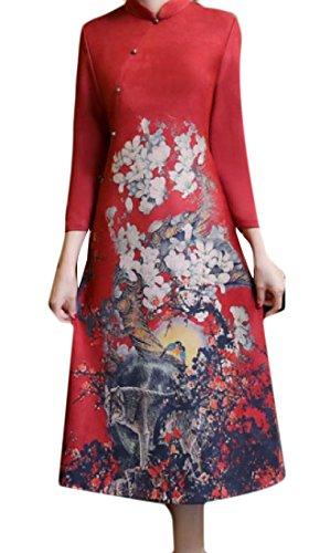 Floreale Basamento Stampa Abbigliamento Dell'annata Lunghezza A Metà donne Del Cinese Rosso Coolred Collare YTpgX