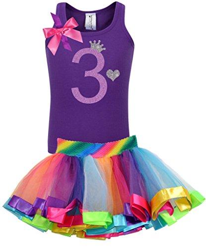 [Bubblegum Divas Little Girls' 3rd Birthday Purple Rainbow Tutu Outfit 3] (Disco Diva Outfit)