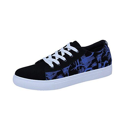Casual Azul Bajo 'S Tobillo Deportivos Talon Impresion ALIKEEY Lace Graffiti Zapatos Up Plano Men HEfOBf