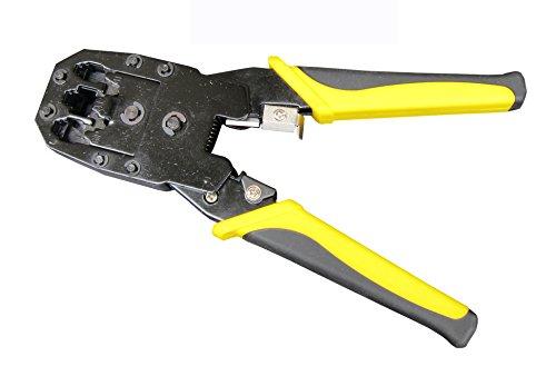 (FITOOL Modular Crimper-Stripper-Cutter, 8P/RJ45, 6P/RJ12, 4P/RJ11 Crimp, Cut, Strip Tool, Incl. Mini Punch Down Cutter Stripper as Bonus, Network Crimper Stripping)