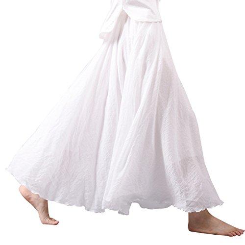Kafeimali Women Bohemian Cotton Linen Double Layer Elastic Waist Long Maxi Skirt (White, 85CM-Length) ()