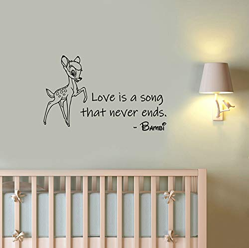 Love is A Song That Never Ends Bambi Quote Wall Decal Vinyl Sticker Cartoon Animal Art Decorations for Home Kids Baby Room Nursery Deer Decor Ideas bem7