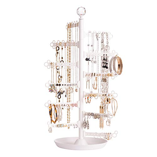 All Hung Up 12-Tier ~ Extra Capacity ~ Earrings (110+ Pairs) Necklaces Rings Bracelets ~ Display Everything ~ Tabletop Jewelry Organizer Holder Stand Tower Travel Tree Rack with Dish/Tray - White
