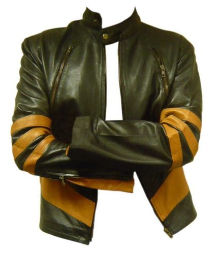 Celebrita Italy Men's Wlver Style Leather Biker Jacket Sheep Yellow Brown S - For Chest 36''-38'' by celebrita