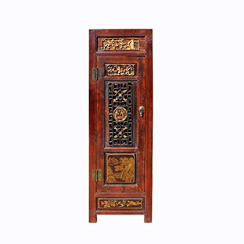 Chinese Fujian Brown Golden Graphic Slim Armoire Storage Cabinet Acs4626 from A Large Cabinet