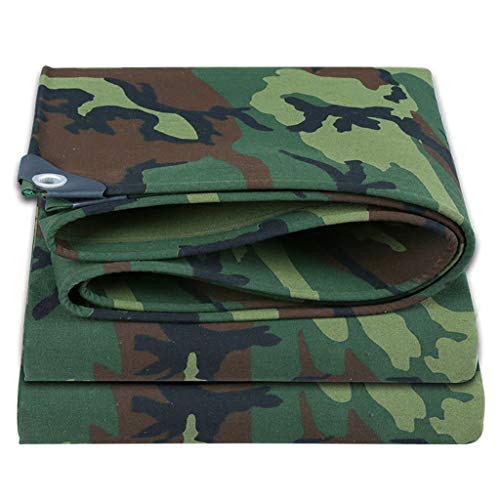 JLDNC Heavy Duty Waterproof Camouflage Tarp, 27mil Camouflage Tarpaulin Cover with Grommets,Multi-Purpose Canvas Tarpaulin/Weather-Resistant,12x15Ft/4x5m