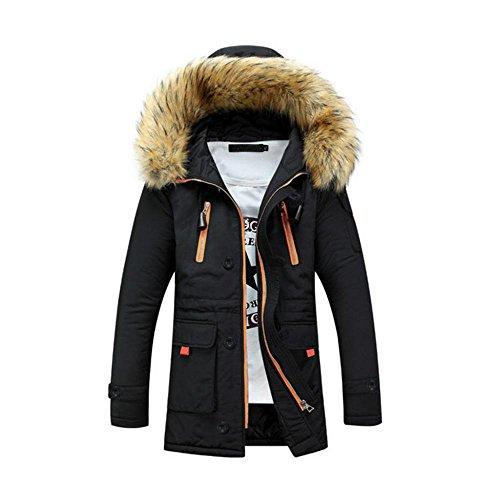 Cotton Hzcx Fur Fashion Coat Slim Thicken Hooded Men's Black And Zipper Collar Jacket qq0ngZrw