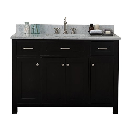 Alya Bath HE-101-48-E-CWMT Norwalk Single Bathroom Vanity with Carrera Marble Top and No Mirror, 48