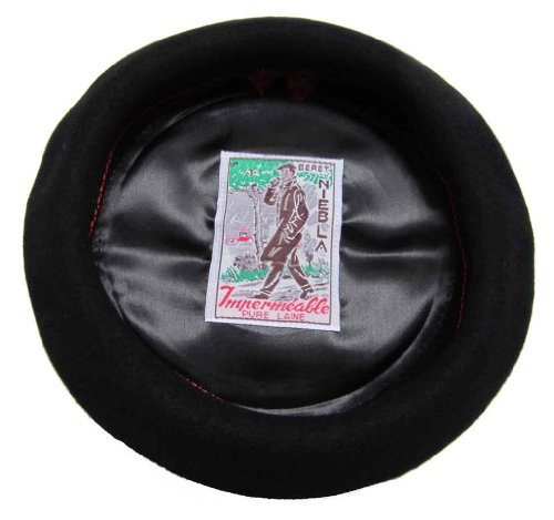 Niebla French Anglobasque Mid-Range Waterproof Wool Beret, Black, Small