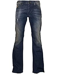 Boot-Cut Stretch Jeans Zathan R833F Dark Blue Dirty/Used Look