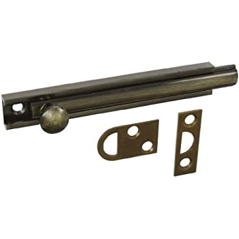 """National Hardware MPB1922 4"""" Surface Bolt - Solid Brass in Antique Brass"""