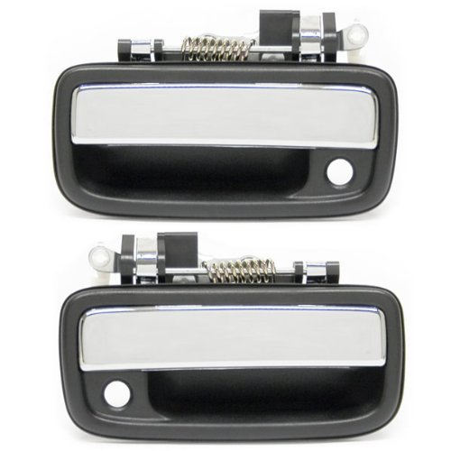 1995-2004 Toyota Tacoma Pickup Truck Front Outside Outer Exterior Chrome Door Handle Pair Set Left Driver and Right Passenger Side (1995 95 1996 96 1997 97 1998 98 1999 99 2000 00 2001 01 2002 02 2003 03 2004 04) ()