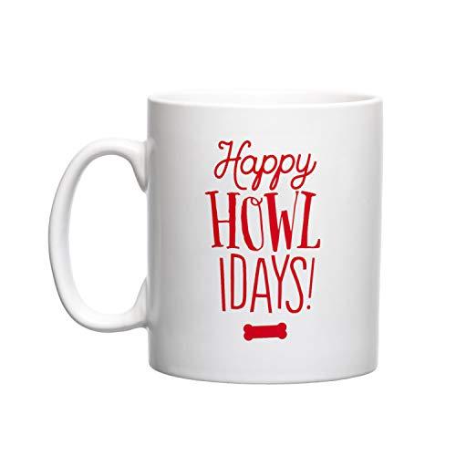 - Pearhead Pet Happy Howlidays Holiday Novelty Ceramic Coffee Mug for Cat or Dog Lovers, 13oz