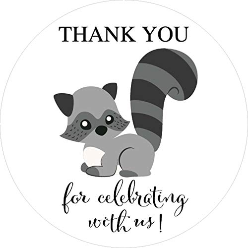 Raccoon Woodland Animal Thank You Stickers, Baby Shower or Birthday Party Sticker, Party Circle Decorations, Supplies, 40-Pack 2