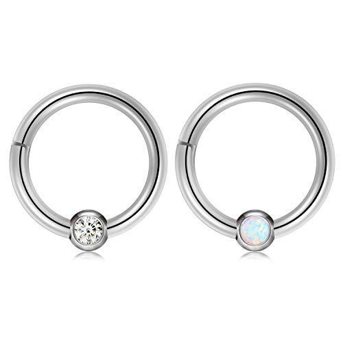 - Kangyijia Opal Captive Beads Septum Clicker Nose Ring 16 Guage 5/6inch Hinged Seamless Clicker Ring Hoop Nostril