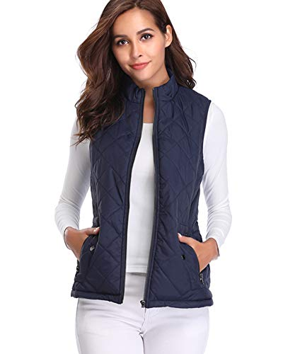 Argstar Women's Stand Collar Lightweight Padded Zip Vest Quilted Gilet Clearence Dark Blue ()