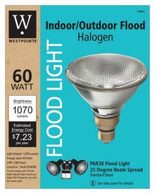 Westpointe G E Lighting 63202 Flood Light Bulb, Halogen, Indoor/Outdoor Par 38, 60-Watt - Quantity 6