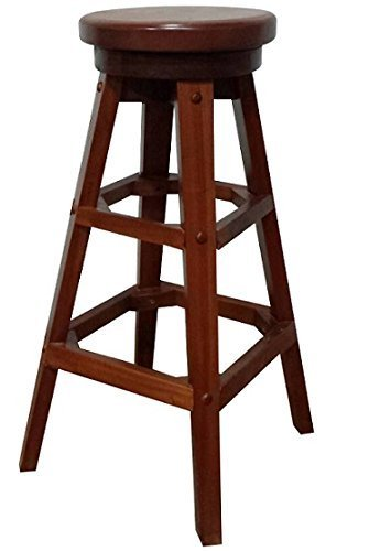 Urnporium Solid Mahogany Wood 30'' Swivel Bar Counter Stool No Assembly Required Ready To Use Stool-Swivel-30-Mah by Urnporium