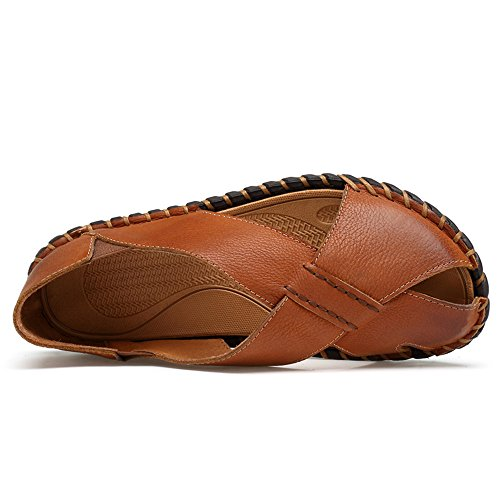 Men's Genuine Cowhide Leather Beach Slippers Casual Sandals Non-Slip Handwork Sole Shoes,Flip Flop Sandals for Men Brown