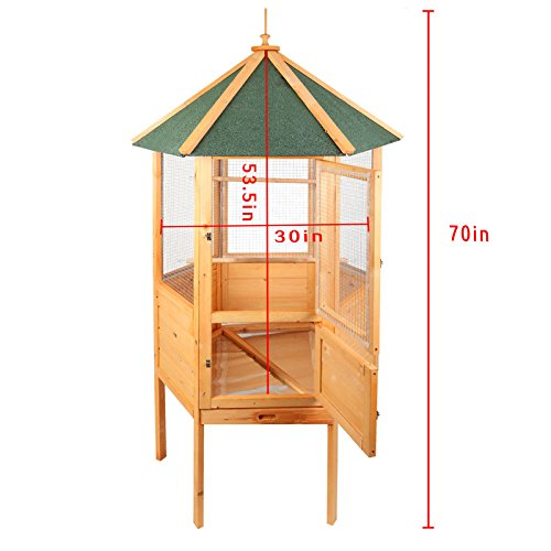 Magshion 70 Stunning Wooden Aviary Hexagonal House Bird Cage with Feed Door, Perch,Trays