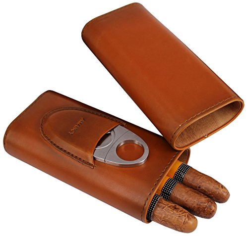AMANCY Top Quality 3- Finger Brown Leather Cigar Case, Cedar Wood Lined Cigar Humidor with Silver Stainless Steel Cutter by AMANCY (Image #1)