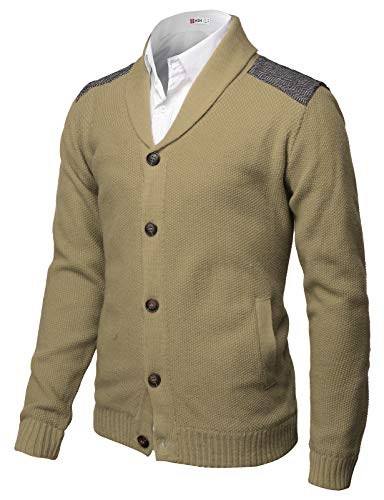 Neck Shawl (H2H Mens Classic Shawl Collar Button Up Cardigan with Shoulder Point Beige US M/Asia L (CMOCAL028))