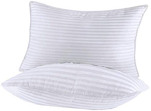 Lux Decor Collection - Luxury Plush Bed Pillows - Cotton Pillows for Sleeping - (2 Pack) Queen Pillows - Soft, Dense Fiber Gel Filled for Stomach & Back Sleepers - Dust Mite Resistant & Hypoallergenic