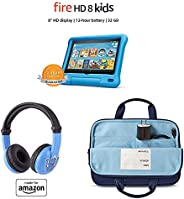 Fire HD 8 Kids Essential Bundle including Kids Fire HD 8 Tablet 32GB Blue + Playtime Bluetooth Headset (Ages 3