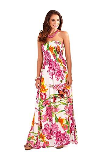 Martildo Fashion, Ladies Bandeau Strapless Tropical Floral Maxi Dress, Pink Floral, X-Large US 16-18 (Bandeau Tropical)