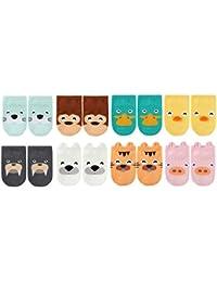 (YR1604) Anti-Slip Grip Soles Cozy Cartoon Baby Socks,8 Pairs per Pack
