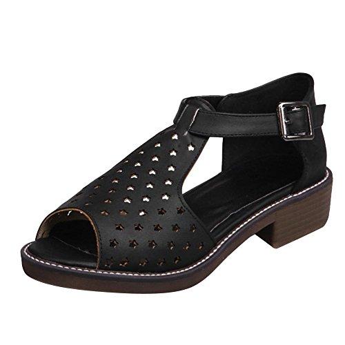 Vrijstaande Sandalen Met Open Neus En Comfortleer Dames Van Sandalen Zwart