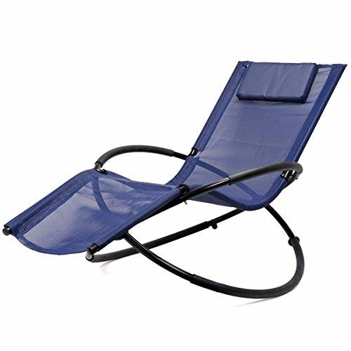 Folding Orbit Zero Gravity Chair Patio garden Lounger Rocking Relax Outdoor navy By Allgoodsdelight365 (Repair Chair Patio Web)