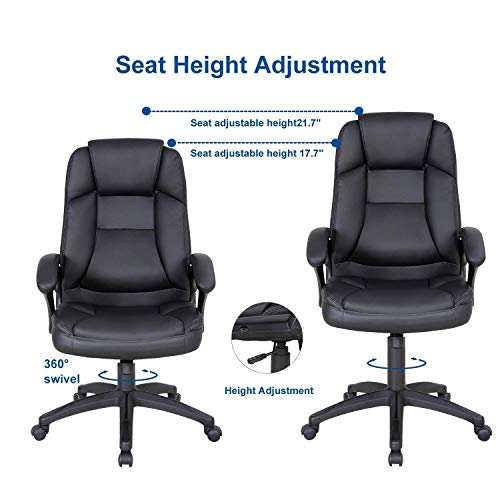 LCH High Back Executive Office Chair with Adjustable Tilt Angle - PU Leather Computer Desk Chair with Thick Padding for Comfort and Ergonomic Design for Lumbar Support by LCH (Image #2)