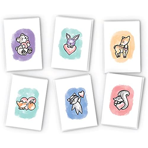 Cute Animals with Hearts Greeting Card Collection - 24 Cards & Envelopes Sales