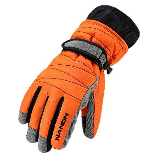 Winter Warm Mountain Snowboard Ski Gloves Men Women Cold Snow Skiing Mittens Waterproof Snowmobile Orange L