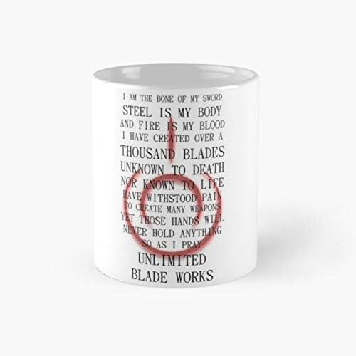 Fate Stay Night Unlimited Blade Works Archer And Shirou Quote With Command Seal Mug, fate Tea Cups, 11 Ounce Ceramic Mugs, Perfect Novelty Gift Mug, Funny Gift Mug, Funny Coffee Mug 11oz, Tea Mugs -