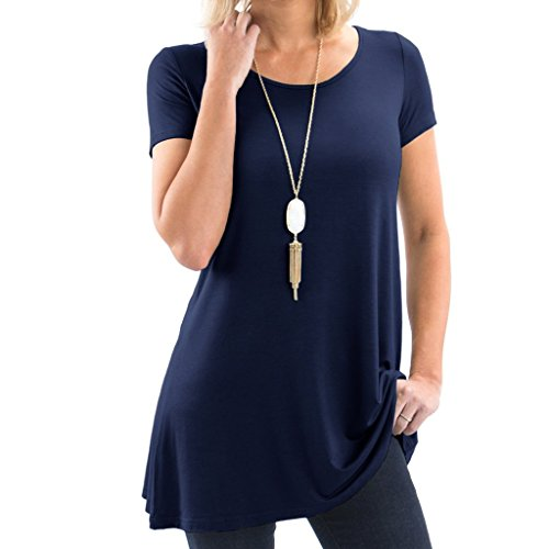 - Bella Women's Short Sleeve Boatneck Tunic with Symmetrical Hem - Super Soft Loose Fit T-Shirt Tunic Top, Perfect Casual Blouse for Leggings & Jeans - Large - Navy Blue