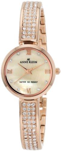 Anne Klein Women's 10/9786CMRG Swarovski Crystal Accented Rosegold-Tone Half Bangle Watch by Anne Klein