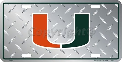 University Of Miami License Plate - University of Miami Collegiate Embossed Vanity Metal Novelty License Plate Tag Sign