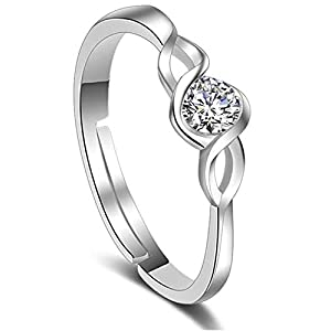 Yellow Chimes Platinum Plated Elegant Classic Crystal Adjustable Ring for Women and Girls