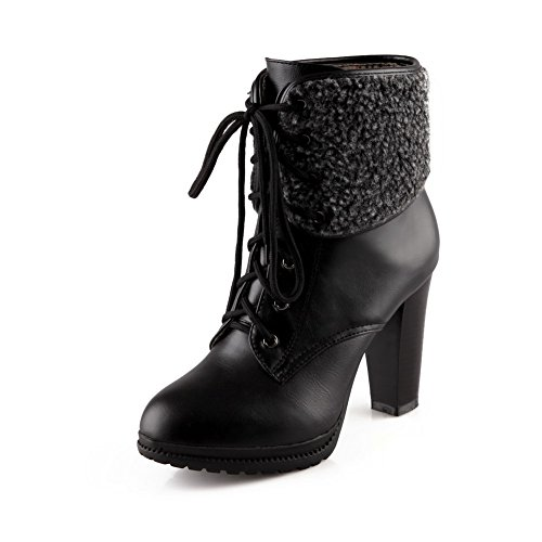 Low Soft Closed Toe Round AgooLar Top Heels Material Women's Black Boots Solid High B5ZY5q8x
