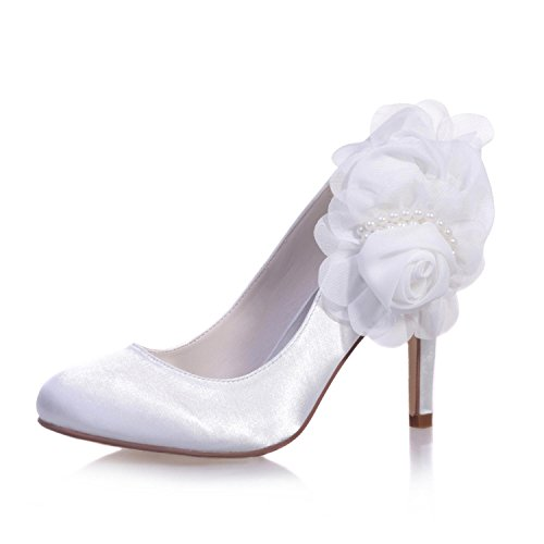 Y De cómodo 5623 Cerrada Casual Satinado punta Boda 11 White Mujer fiesta Altos Tacones Zapatos Nocturna yc Para L I6xF8F