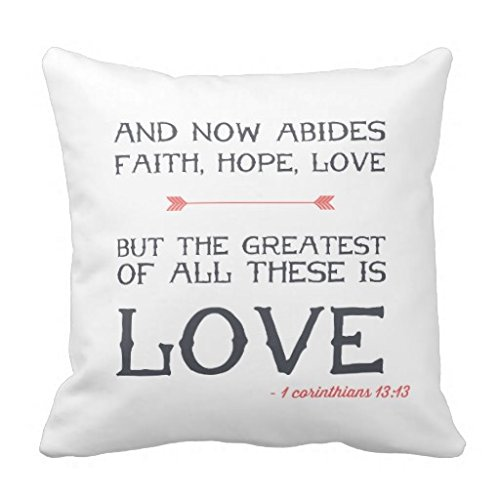 Home Decor Pillow Cover 1 Corinthians 1313 Bible Verse Art Throw Pillow Case for 20×20 inches