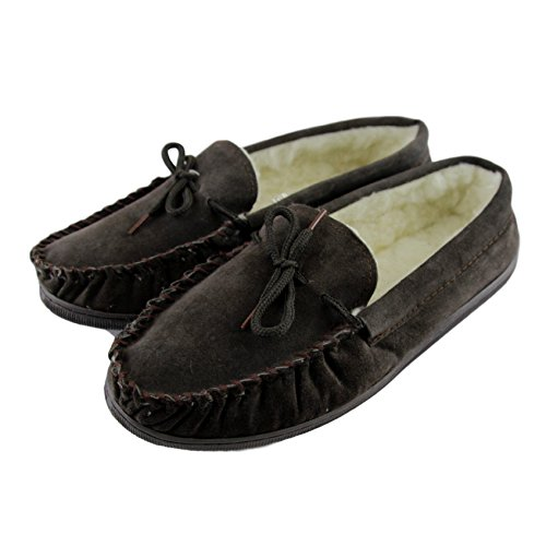 Moccasin Slippers Upper with Sheepskin Deluxe Thick Extra Mens World Sole Hard Suede Brown Lambswool IqSCpZw