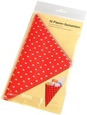 5 x Papier-Spitztüten 19 cm rot Tüte Hochzeitsmandeln Taufmandeln Süsigkeiten *NEU & OVP*