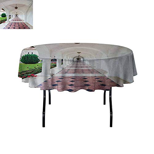 Curioly Travel 3D Printed Round Tablecloth Dome Arched Colonnade Hallway at Sambata De Sus Monastery in Transylvania Romania Desktop Protection pad D47.2 Inch White Green