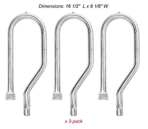 SB0801(3-pack) Stainless Steel Gas Grill Burner Replacement for Costco Kirkland, Nexgrill, Harris Tweeter, Sterling Forge Courtyard, Virco Model Grills (16 1/2
