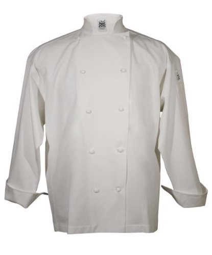 San Jamar J004 Cotton Knife and Steel Long Sleeve Chef Jacket with Cloth Knot Button, X-Small, White by San Jamar
